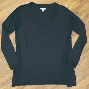 Lucky Brand black v neck knit sweater medium
